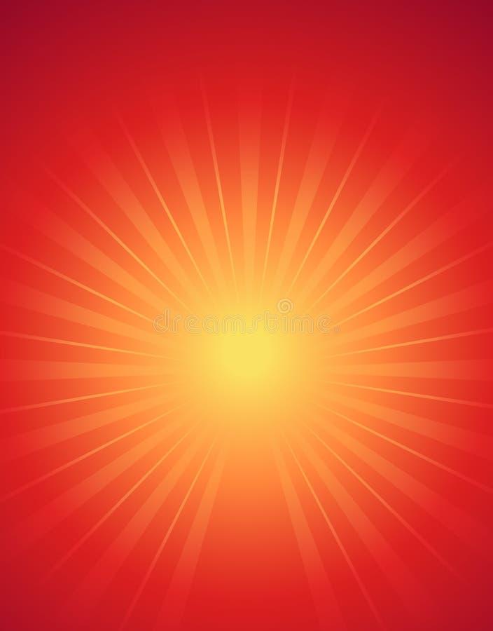 Fond rouge du soleil jaune, rayons avec différentes directions, illustration géométrique de vecteur de papier peint illustration stock