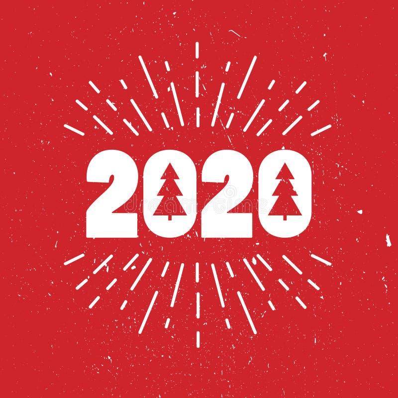 Fond rouge et blanc avec 2020, sapins de Noël, feu d'artifice Contexte d?coratif Bonne année, carte de voeux colorée illustration stock
