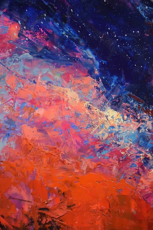 Fond rouge et bleu de peinture à l'huile photo libre de droits