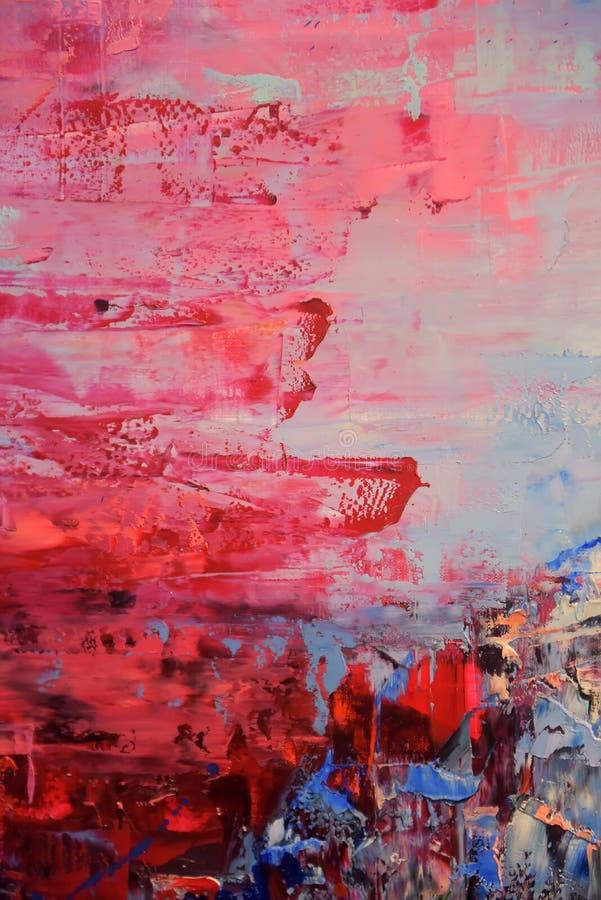Fond rouge et bleu de peinture à l'huile image libre de droits