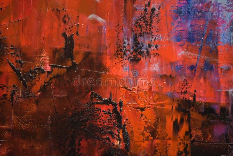 Fond rouge et bleu de peinture à l'huile images stock