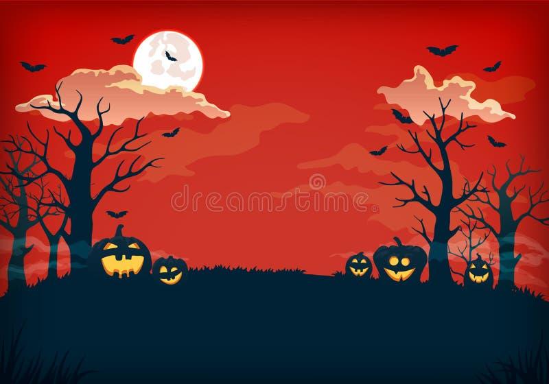 Fond rouge et bleu-foncé fantasmagorique de nuit avec la pleine lune, les nuages, les arbres nus, les battes et les potirons illustration de vecteur
