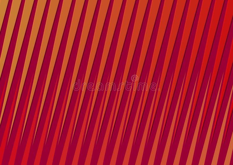 Fond rouge foncé et orange de gradient avec les rayons diagonaux, effet en plastique, éléments de triangle illustration de vecteur