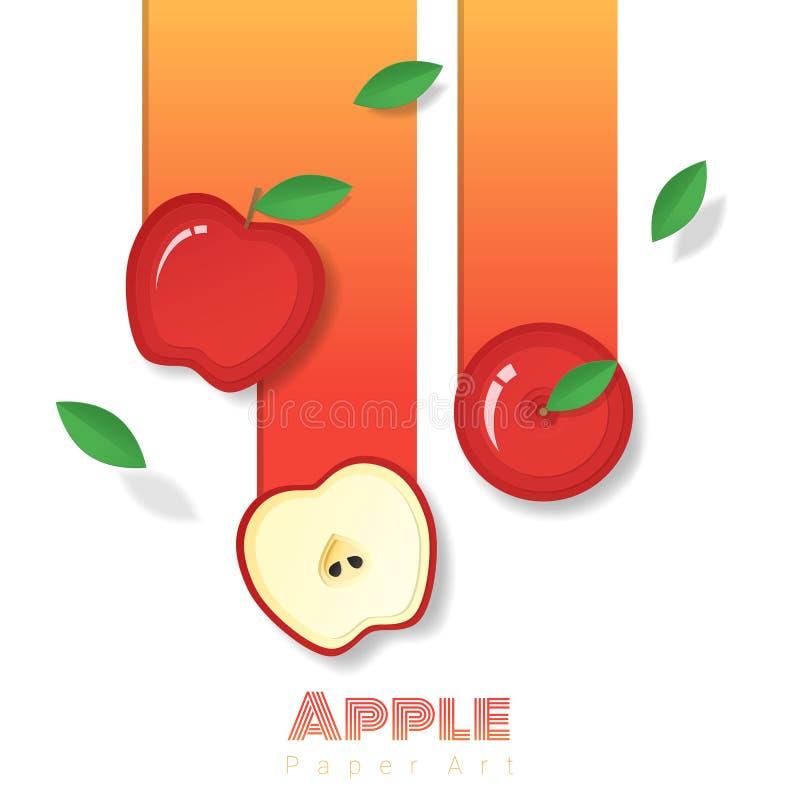 Fond rouge frais de fruit de pomme dans le style de papier d'art illustration de vecteur
