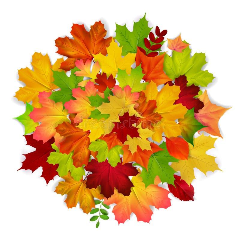 Fond rouge, jaune, orange, vert de feuille d'automne illustration libre de droits