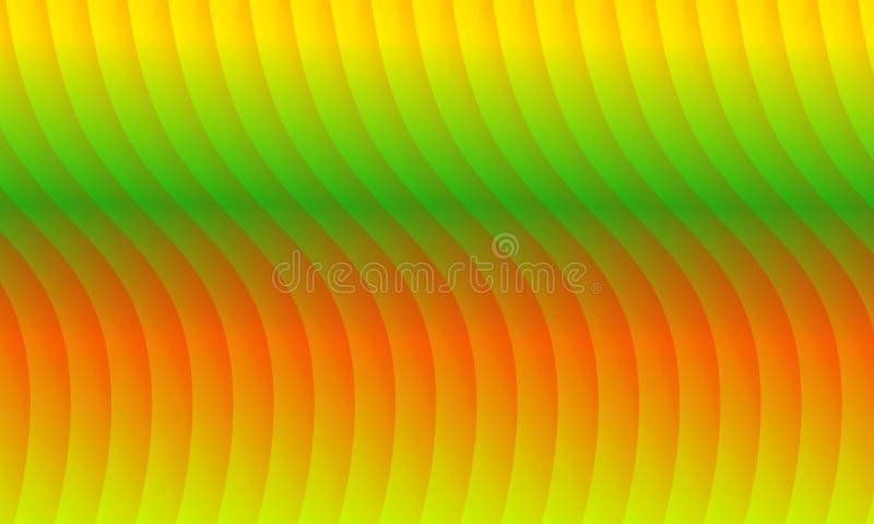 Fond rouge, jaune, vert, et orange abstrait de vague, papier peint, vecteur, illustration illustration de vecteur