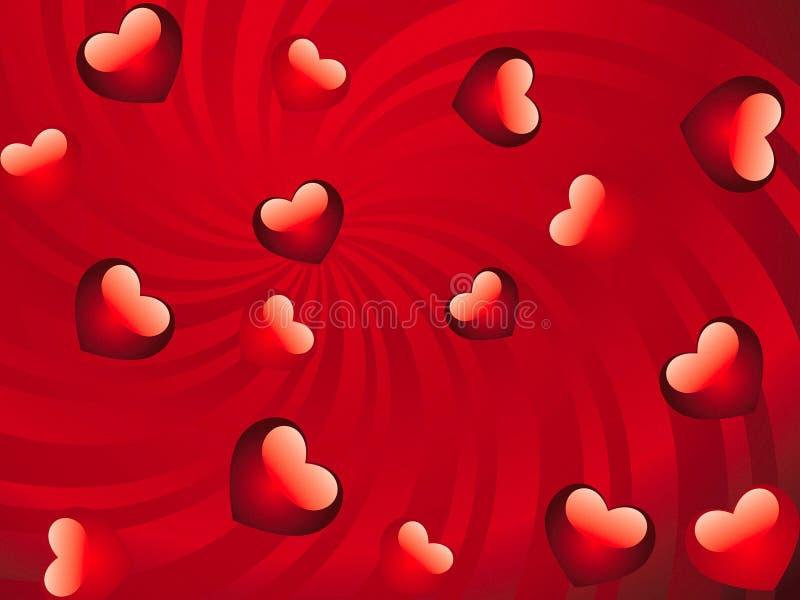 Fond rouge lustré de coeurs illustration de vecteur