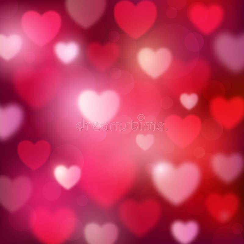 Fond rouge romantique abstrait avec des coeurs et des lumières de bokeh illustration de vecteur