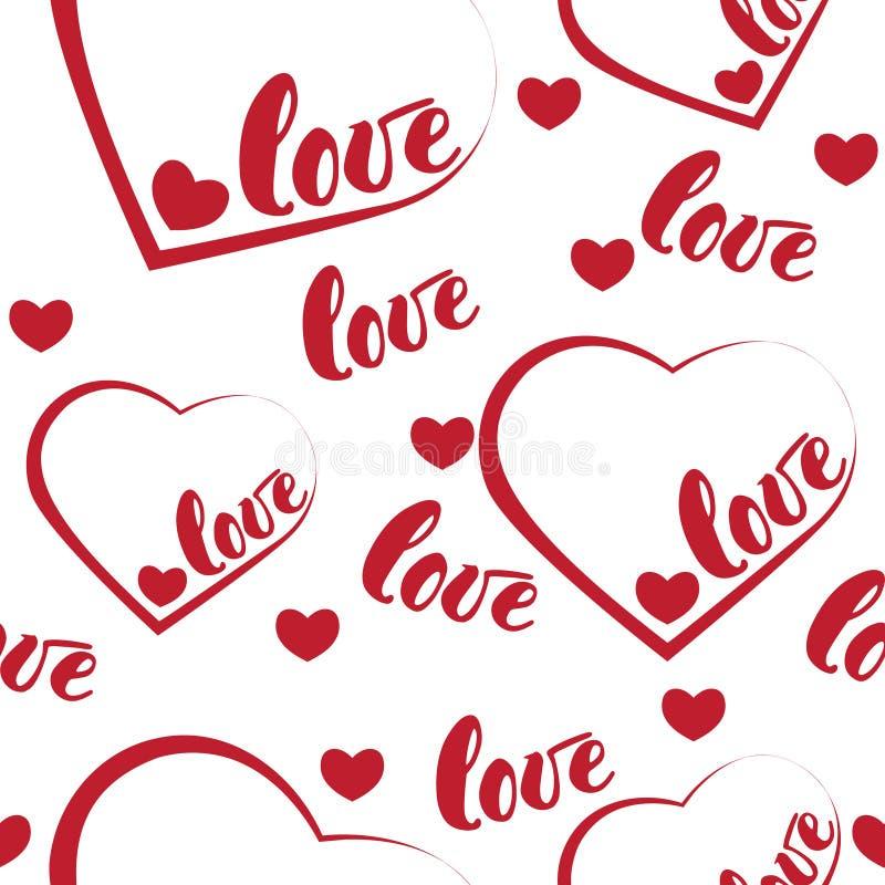 Fond rouge romantique de modèle d'amour et de coeur Illustration de vecteur pour la conception de vacances Beaucoup vol exprime l illustration libre de droits