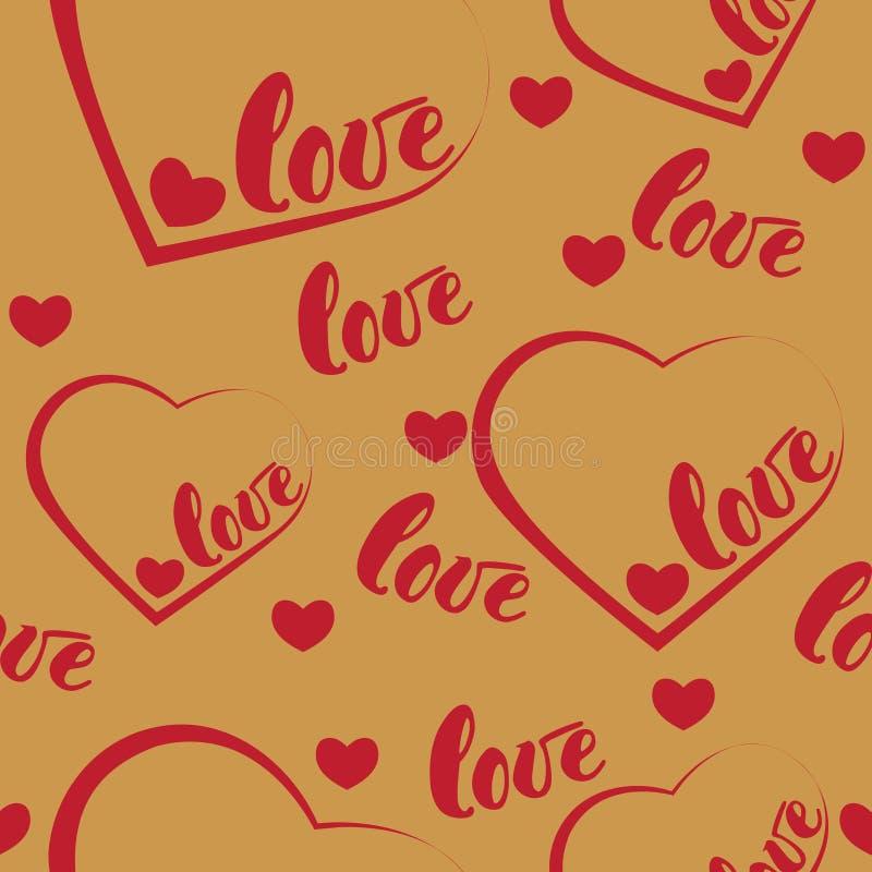 Fond rouge romantique de modèle d'amour et de coeur Illustration de vecteur pour la conception de vacances Beaucoup vol exprime l illustration stock