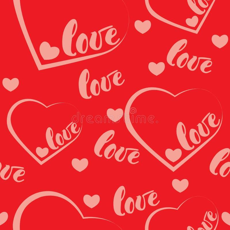 Fond rouge romantique de modèle d'amour et de coeur Illustration de vecteur pour la conception de vacances Beaucoup vol exprime l illustration de vecteur