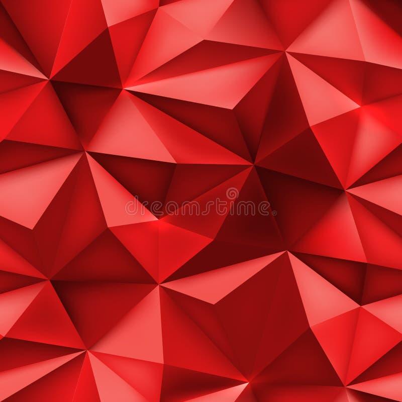 Fond rouge Texture abstraite de maille de triangle illustration stock