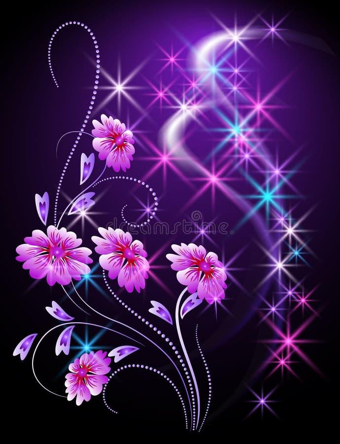 Fond rougeoyant avec des fleurs illustration stock