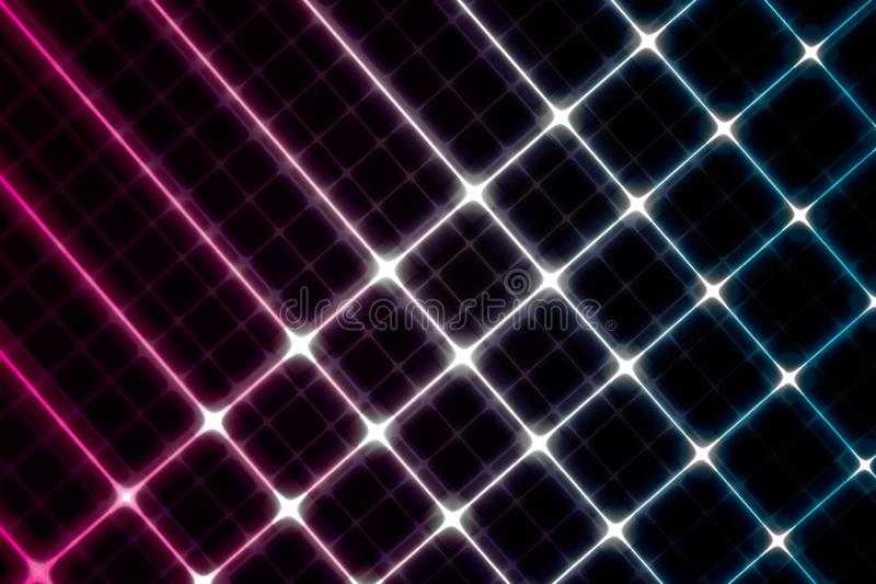 Fond rougeoyant de Digitals Rose de pointe et lignes bleues sur le noir illustration libre de droits