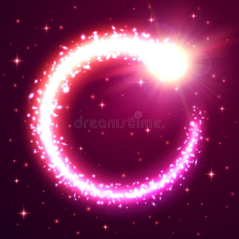 Fond rougeoyant de vortex Étoile filante de particules illustration de vecteur