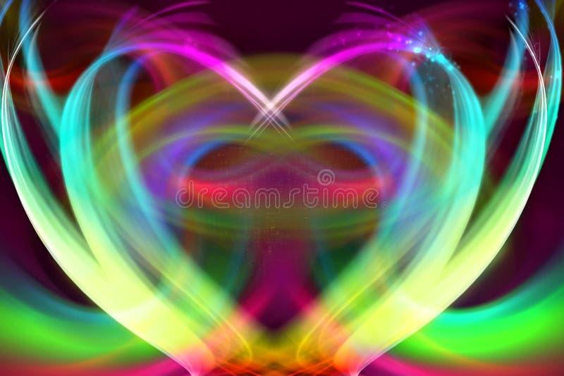 Fond rougeoyant doux multicolore d'illustration de coeur de résumé artistique illustration stock