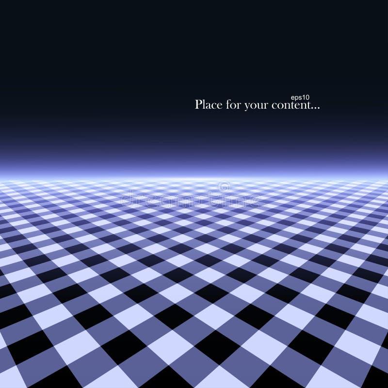 Fond rougeoyant futuriste de r?sum? avec la perspective de vision Texture d'infini de plancher de tuiles - r?tro conception 80-90 illustration stock