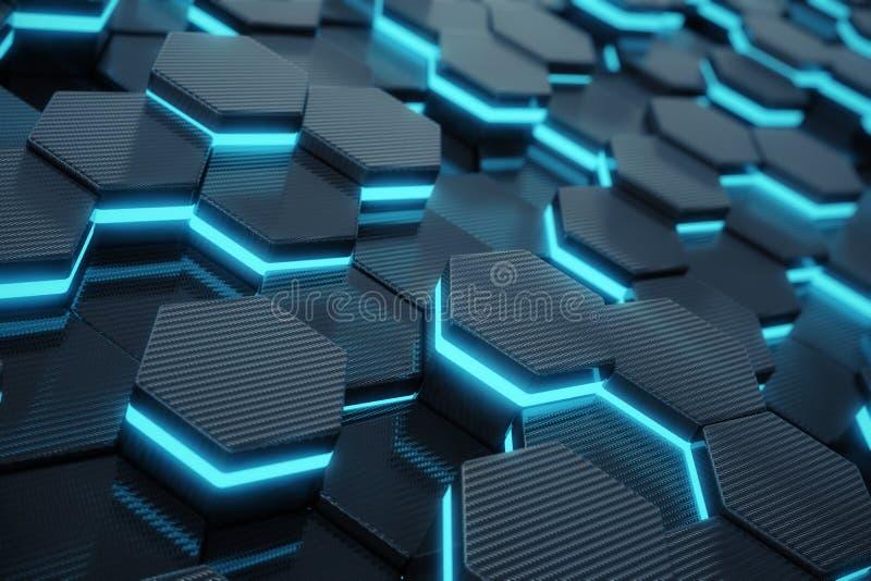 Fond rougeoyant hexagonal abstrait bleu, concept futuriste rendu 3d illustration libre de droits
