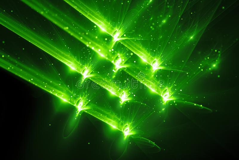 Fond rougeoyant vert d'abrégé sur arme de quantum illustration de vecteur