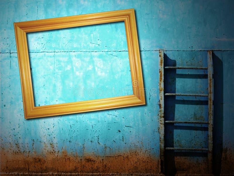 Fond rouillé bleu de cru image libre de droits