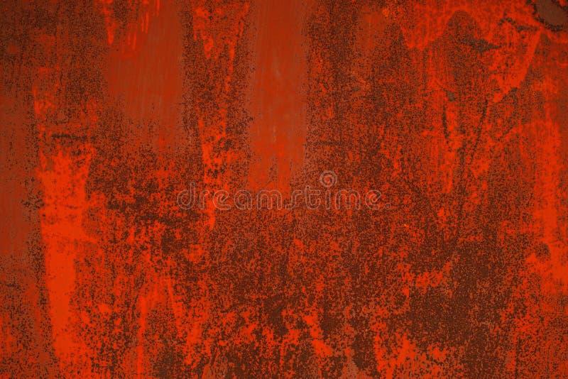 Fond rouillé rouge lumineux en métal Plat grunge de fer photos libres de droits