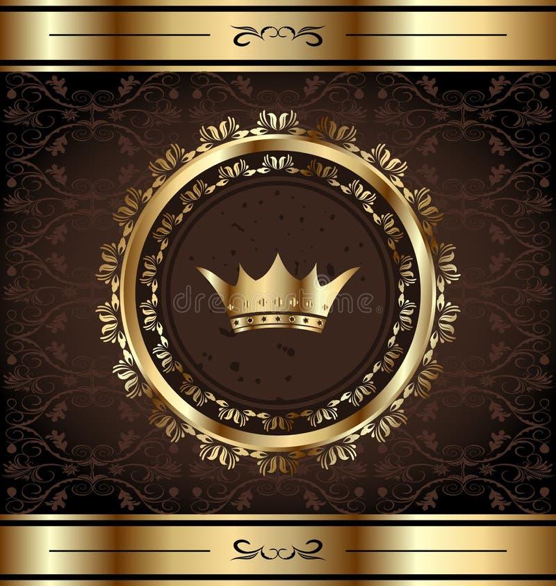 Fond royal avec la trame fleurie d'or illustration libre de droits
