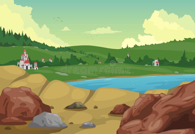 Download Fond rural de paysage illustration de vecteur. Illustration du rayon - 45364254