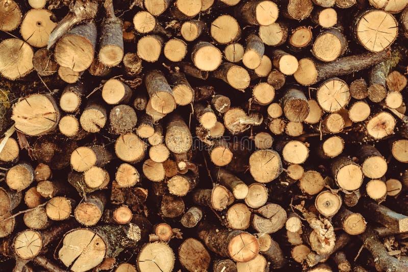 Fond rustique de rondins en bois rugueux de coupe ronde de pile image libre de droits