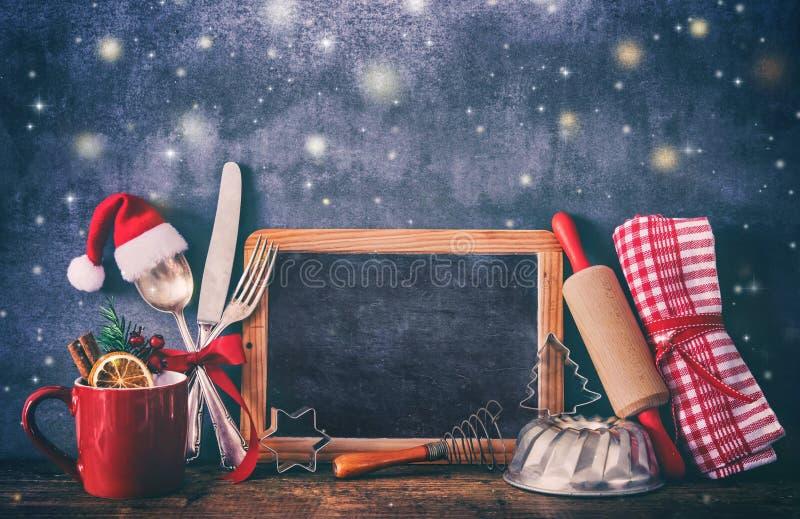 Fond rustique pour la cuisson ou la cuisson de Noël photo libre de droits