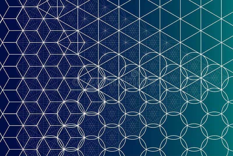 Fond sacré de symboles et d'éléments de la géométrie illustration de vecteur