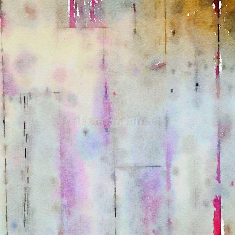 Fond sale mou d'aquarelle avec la texture en bois de grain illustration libre de droits