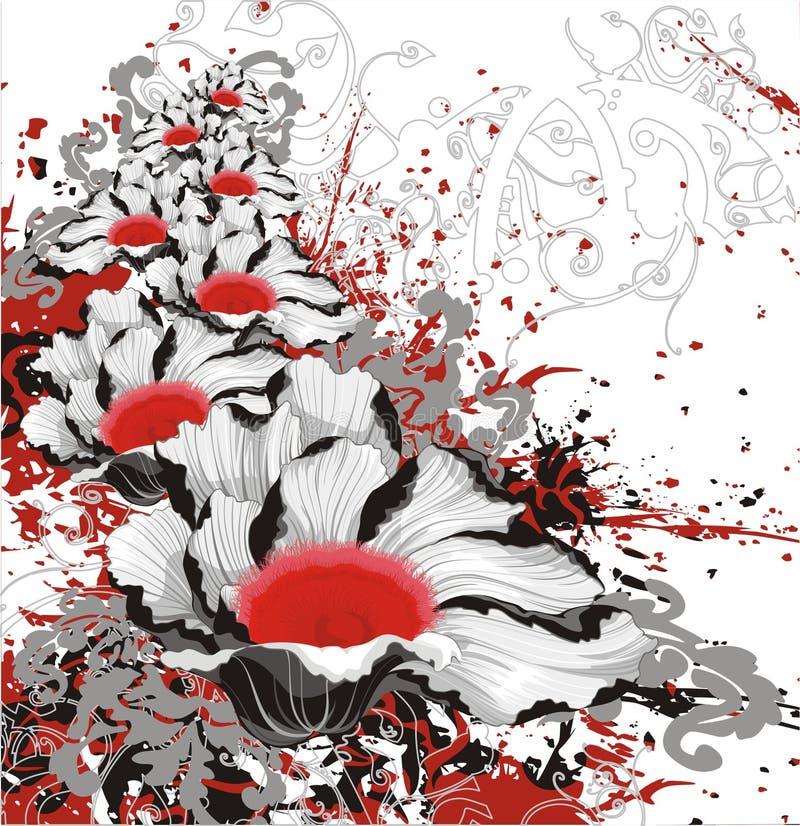 Fond sanglant de vecteur grunge floral illustration de vecteur