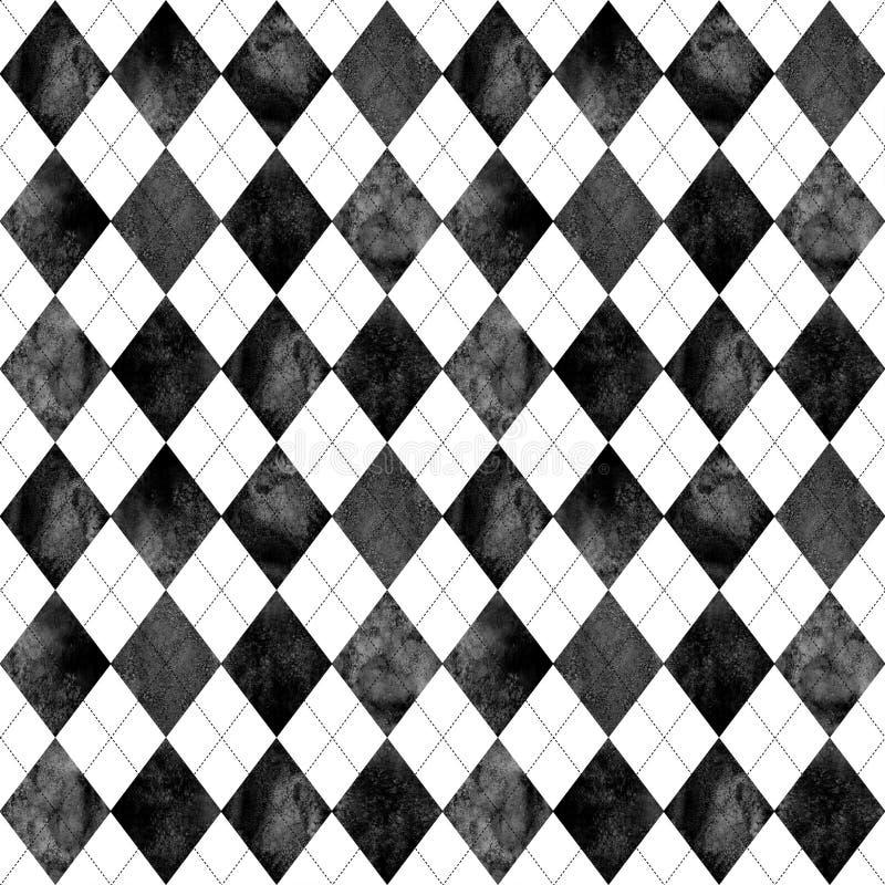Fond sans couture à motifs de losanges noir et blanc de modèle illustration stock