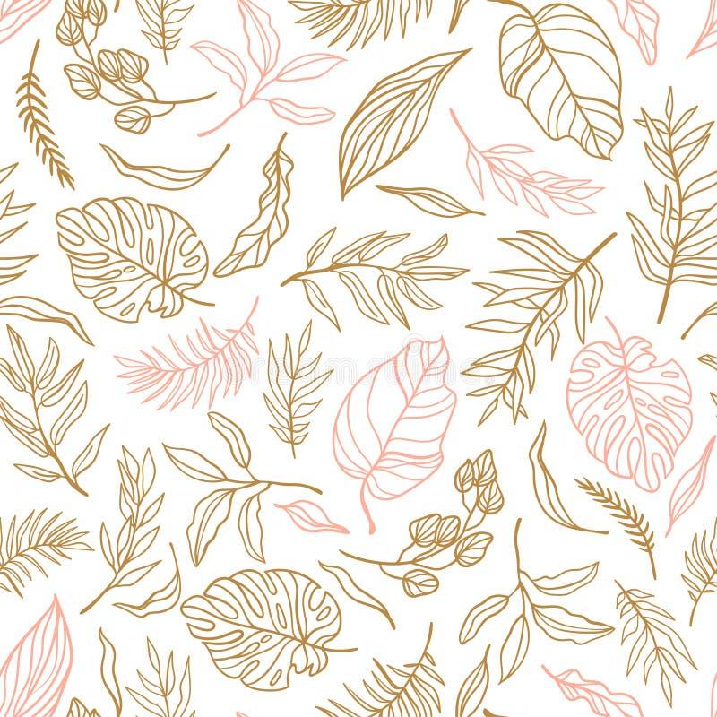 Fond sans couture élégant de vecteur avec le feuillage Épouser le modèle sans fin dans des couleurs de rose et d'or illustration stock