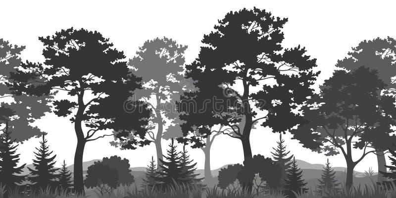 Fond sans couture, été Forest Silhouettes