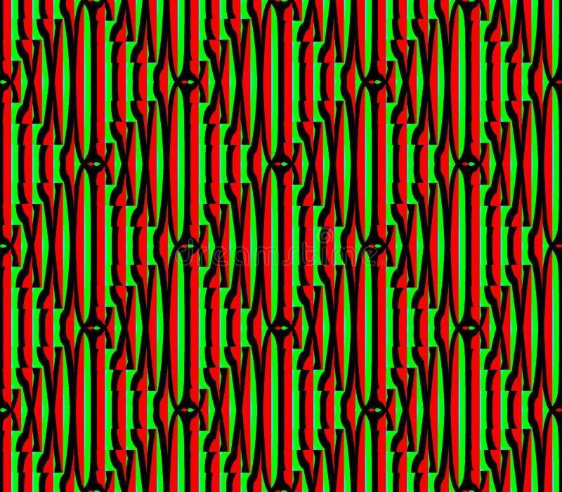Fond sans couture abstrait de rouge et de noir et Lignes Vertes et places illustration de vecteur