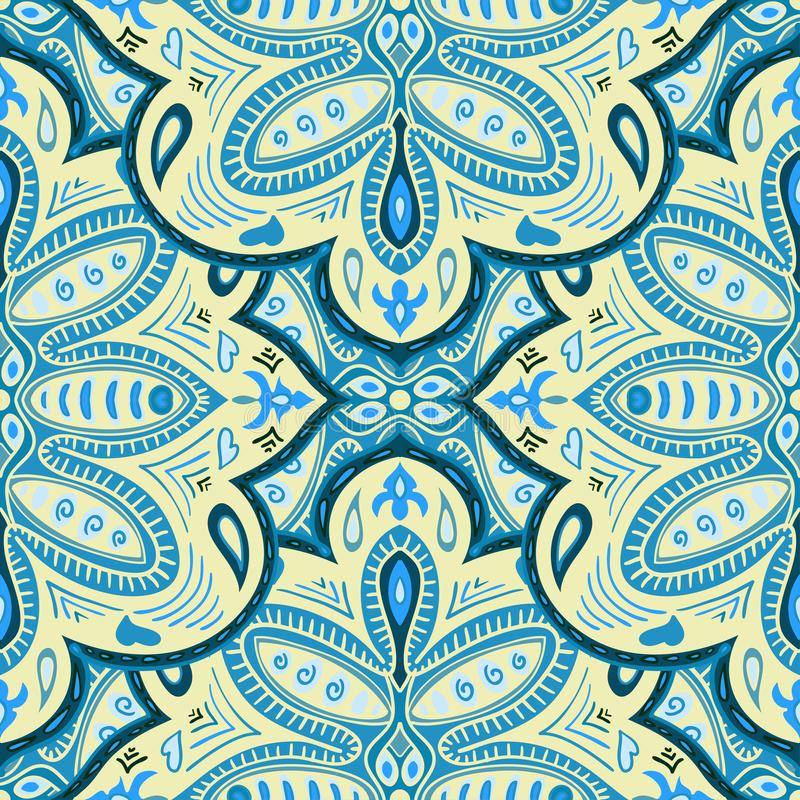 Fond sans couture abstrait des éléments fleuris lumineux Configuration décorative Ornements colorés de mandala illustration libre de droits