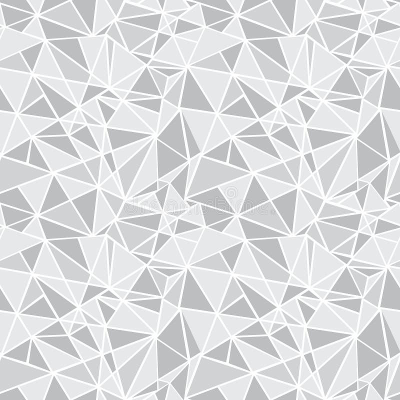Fond sans couture argenté de modèle de Grey Geometric Mosaic Triangles Repeat de vecteur Peut être employé pour le tissu, papier  illustration de vecteur