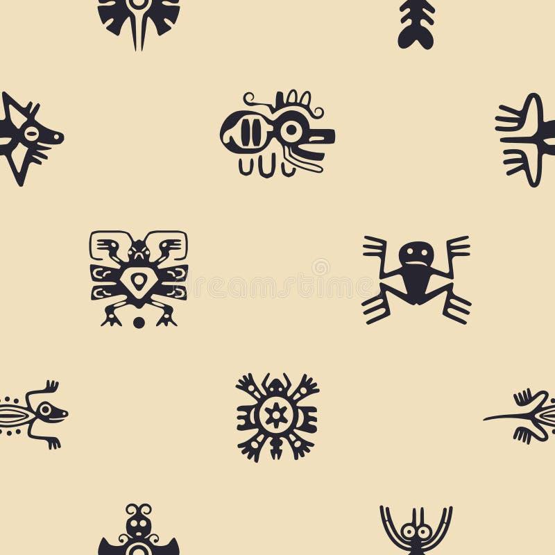 Fond sans couture avec des caractères de trucs de reliques d'Indiens d'Amerique illustration stock