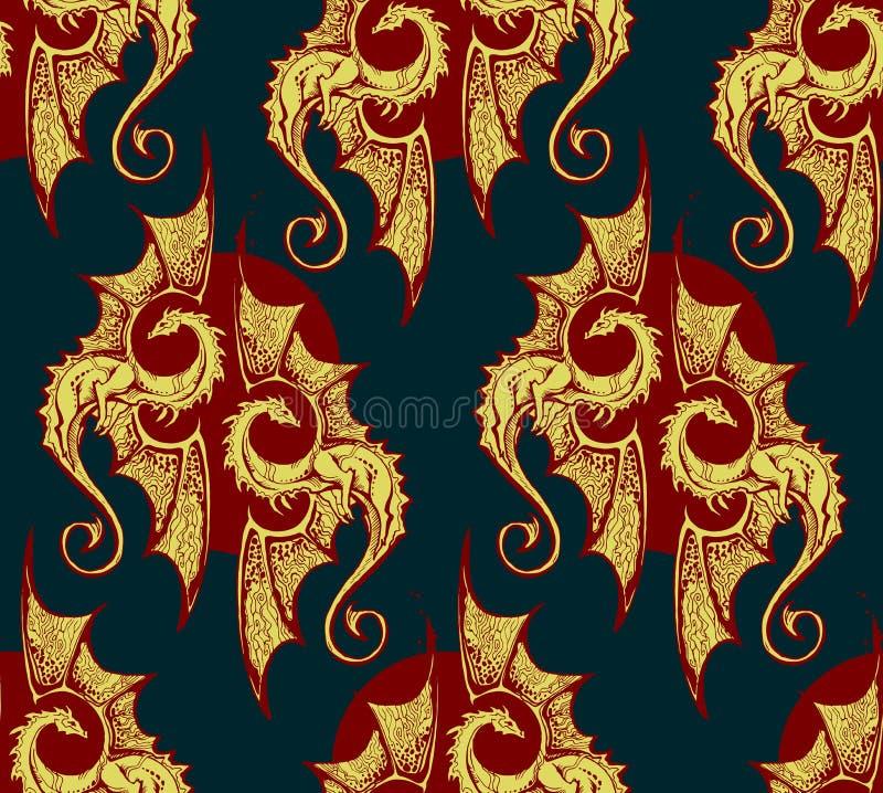 Fond sans couture avec des dragons d'or fond sans couture riche avec des dragons d'or illustration de vecteur