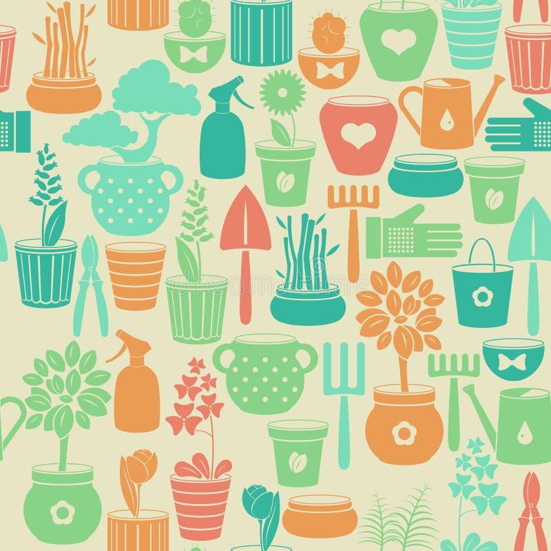 Fond sans couture avec des fleurs dans des pots illustration libre de droits