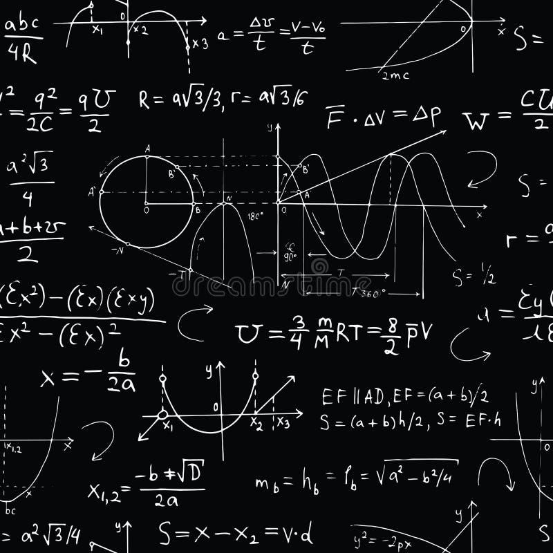 Fond sans couture avec des formules de maths et graphiques sur le noir illustration stock