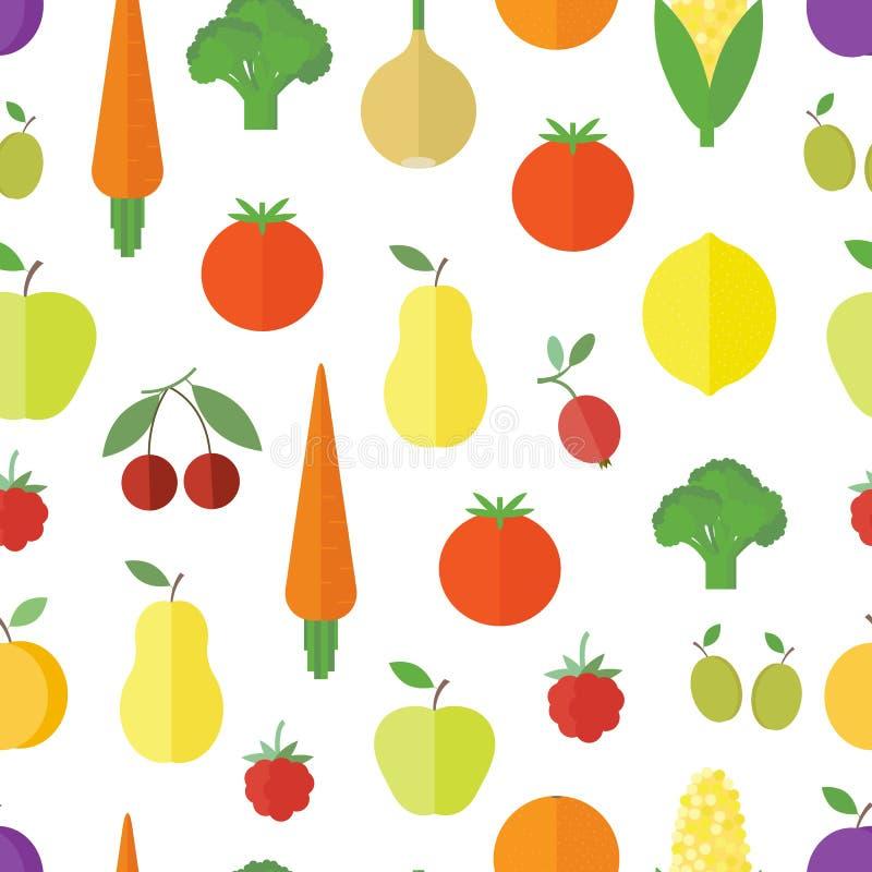Fond sans couture avec des fruits et légumes illustration libre de droits