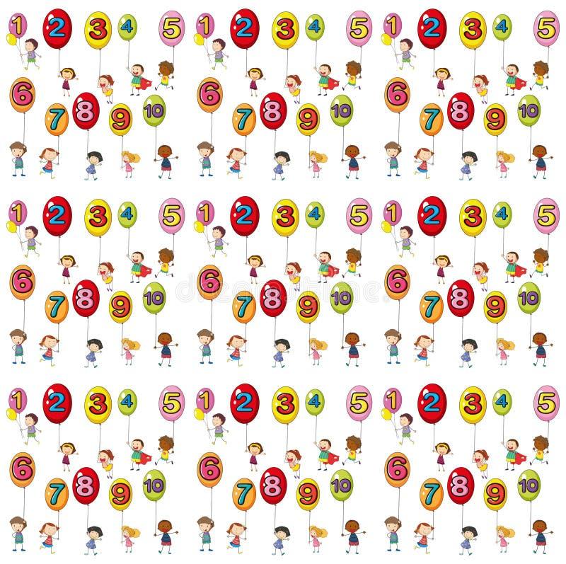 Fond sans couture avec des nombres sur des ballons illustration de vecteur