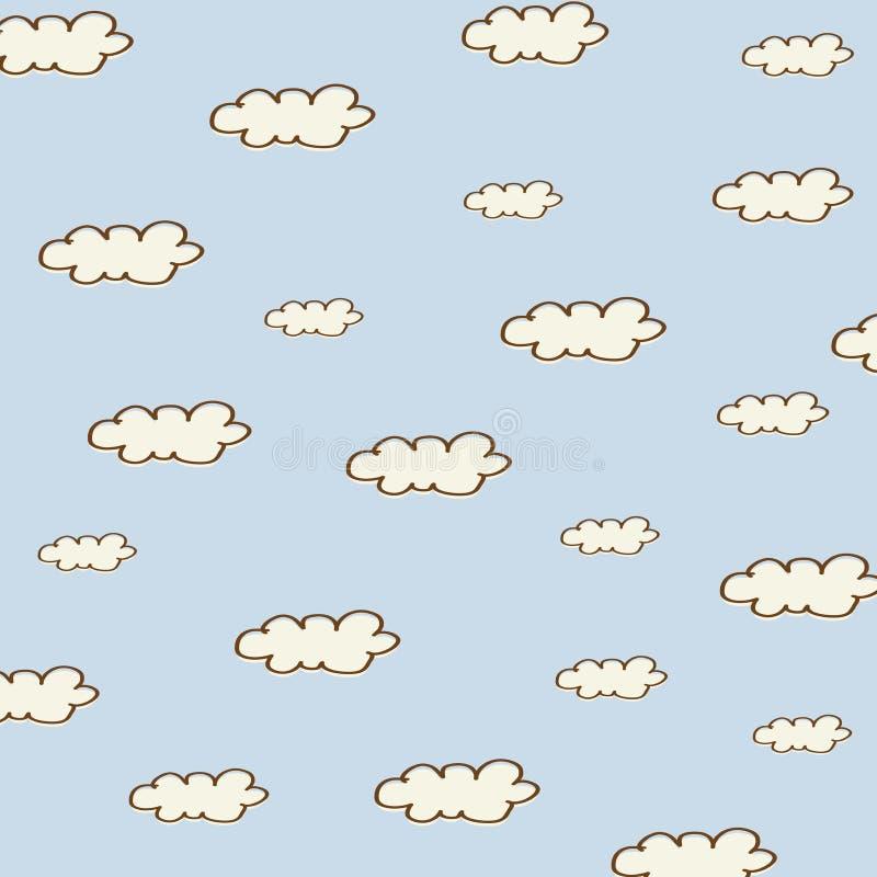 Fond sans couture avec des nuages de bande dessinée illustration de vecteur