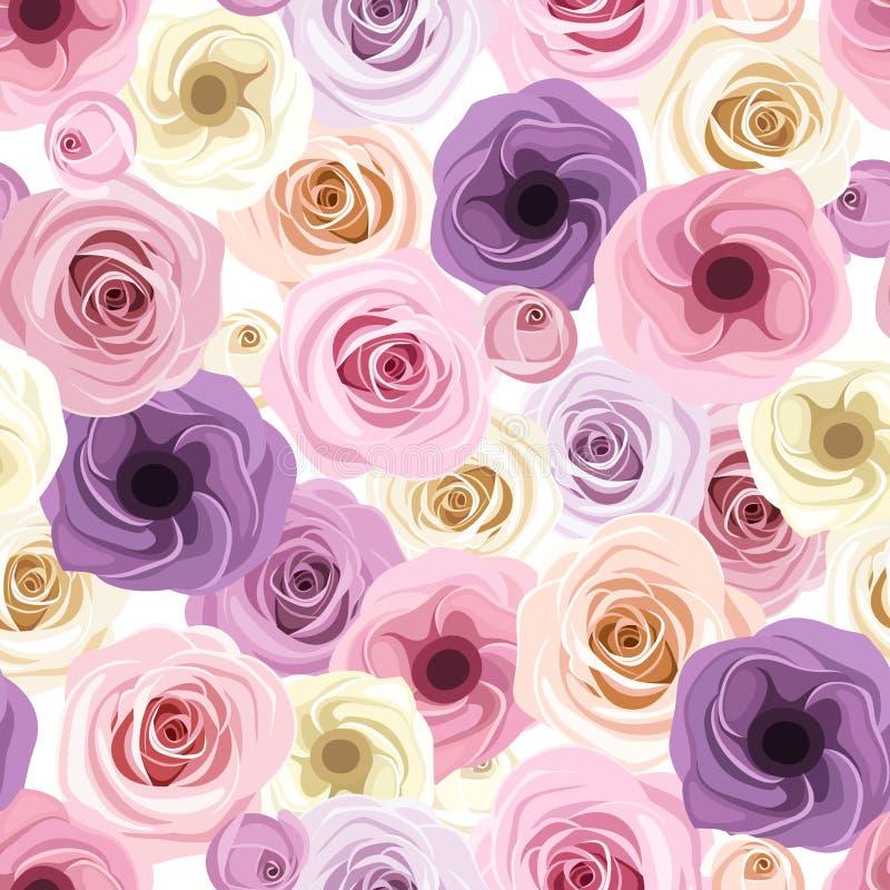 Fond sans couture avec des roses et des fleurs de lisianthus Illustration de vecteur illustration de vecteur