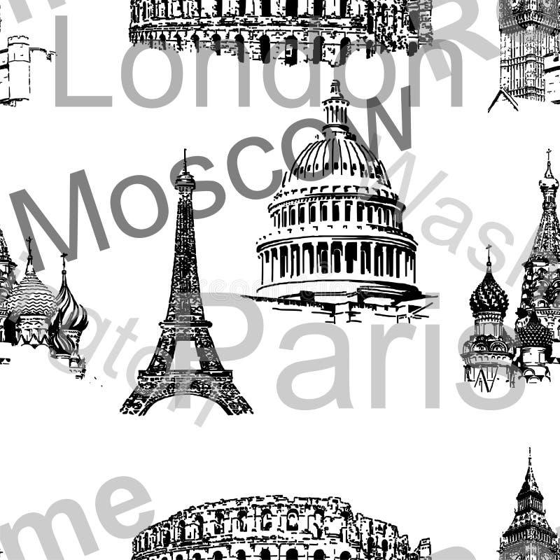 Fond sans couture avec des silhouettes de char urbain illustration stock