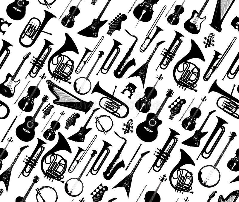 Fond sans couture avec des silhouettes de couleur noire d'instruments de musique d'isolement sur le blanc Illustration de vecteur illustration de vecteur