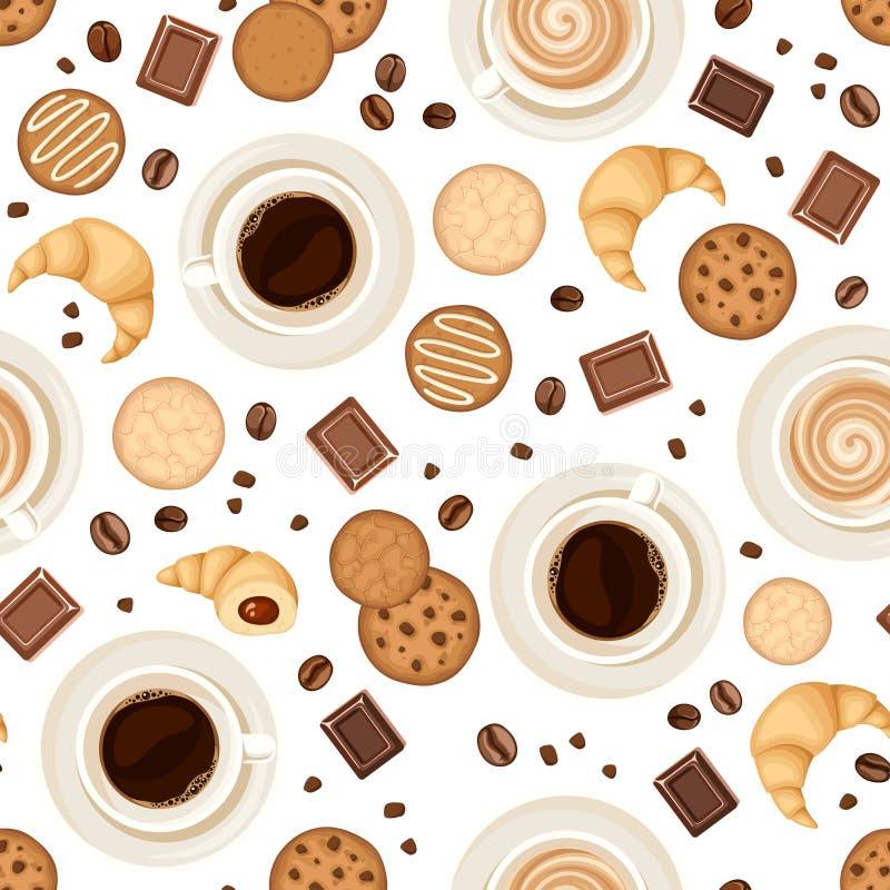 Fond sans couture avec des tasses de café, des haricots, des biscuits, des croissants et le chocolat Illustration de vecteur illustration de vecteur