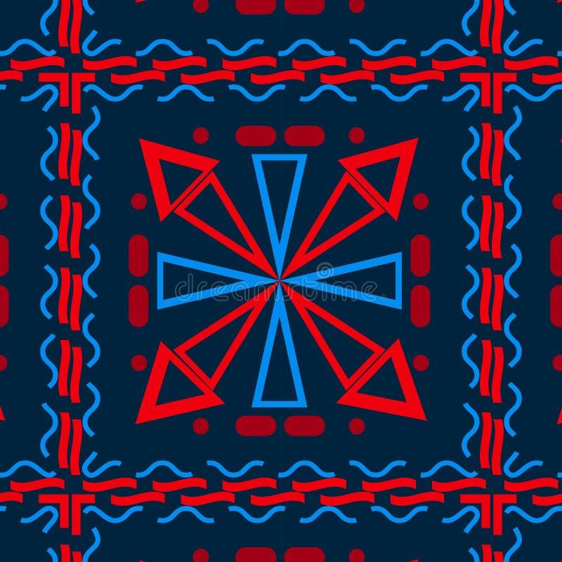 Fond sans couture avec différentes formes géométriques, bleues avec le rouge, cellules illustration de vecteur